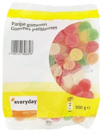 EVERYDAY  Parijse gommen assortiment - 500 gr,  1/2 kilogram.