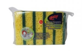 MULTY  schuurspons geel/groen - pak van 5 stuks.