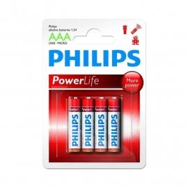 PHILIPS  powerlife batterijen type AAA, 4 stuks.