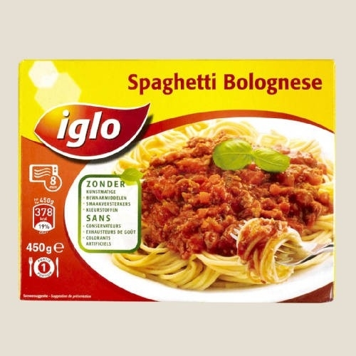 IGLO spaghetti bolognese 450gr - klaar te maken in microgolf of traditionele oven.