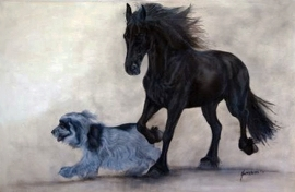 Paardenschilderij 'Fries & Cocker Spaniel'
