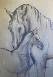 Paardenschilderij 'Motherhood'