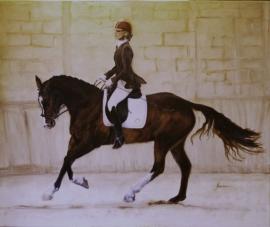 Paardenschilderij 'Amazone Dressuur'