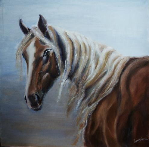 Paardenschilderij 'Fiji, the wild mare'