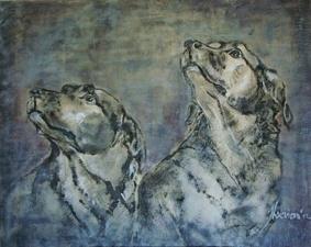 Honden in kalkverf