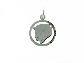 zilveren bedel kinderhoofd met rand