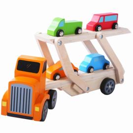 Autotransporter met 4 auto's met/zonder naam