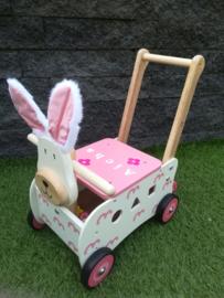 Loop - duw wagen konijn met/zonder naam