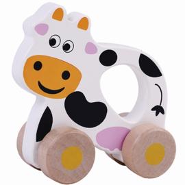 Houten rollende koe