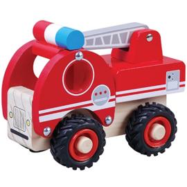 Brandweerauto met zwart rubberen wielen