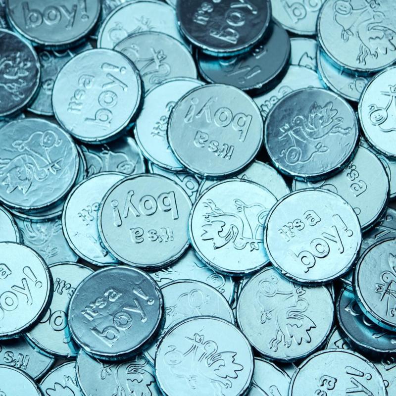 Chocolade munten blauw