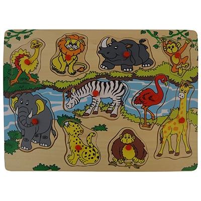 Puzzel wilde dieren bij de rivier