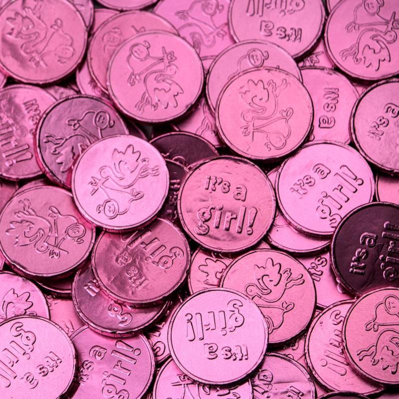 Geboorte  chocolade munten roze