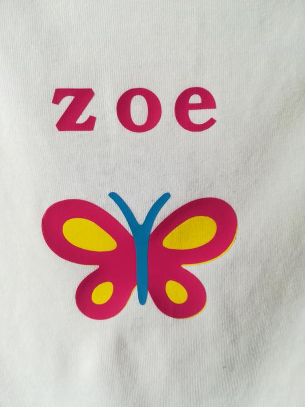 Shirt- Naam met vlinder