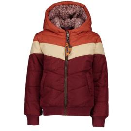Nono * winter 2019 * Warmrode winterjas met schuine strepen