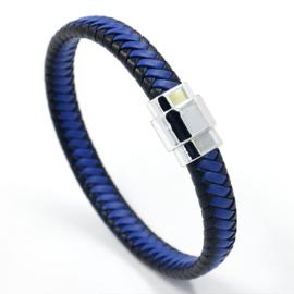 gevlochten armband zwart/blauw