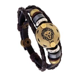 Leer armband leeuw