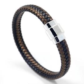 gevlochten armband zwart/bruin