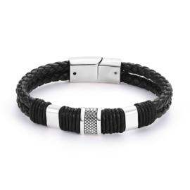 Leren armband  gevlochten zwart