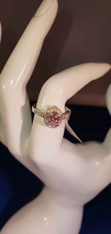 Zilver ring zacht rose