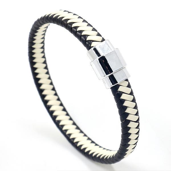 gevlochten armband zwart/wit