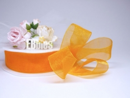 Organza lint 25mm - Orange - Drie meter