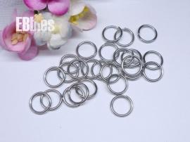 Ringetjes 10mm - Antiek zilver extra sterk