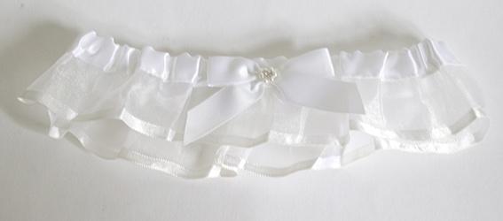 Kousenband wit organza