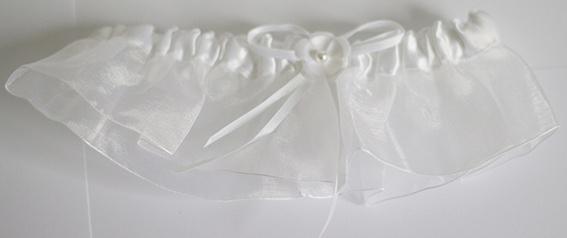 Kousenband bloem wit