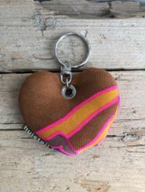 Huisteil sleutelhanger hartje retro pink
