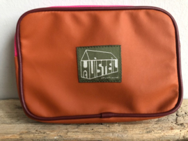 Huisteil Tripple Zipper Portemonnee  'Pink Orange'