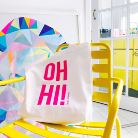 Studio Stationery Tote bag OH HI neon roze