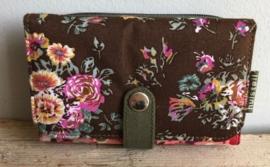 Huisteil Portemonnee dubbel print 'Brown-Pink flower'