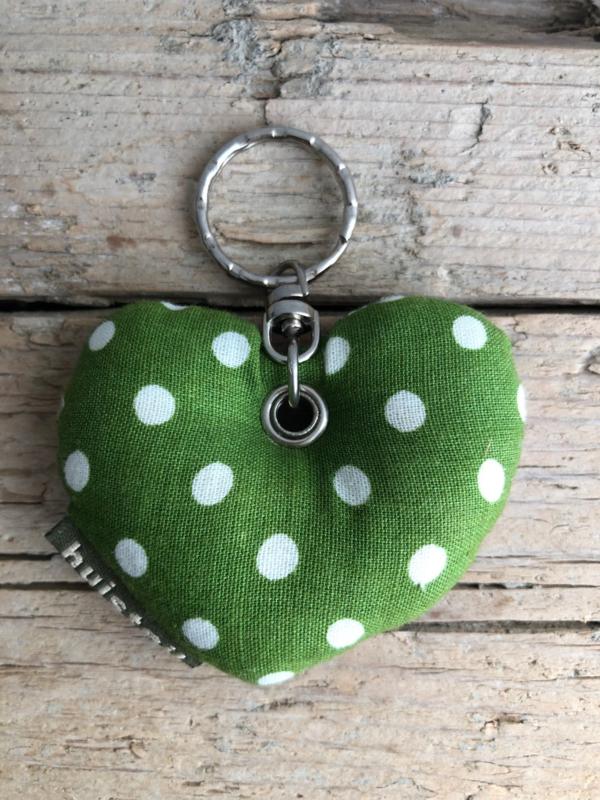 Huisteil sleutelhanger hartje green/flowers