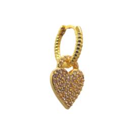 Zirconia Heart Gold Earring