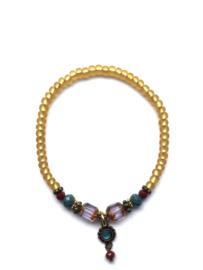 Handmade bracelet - ocher yellow, red, seagreen