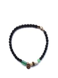 Handmade bracelet - black, green, pearl