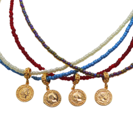 Beaded Necklace Coin