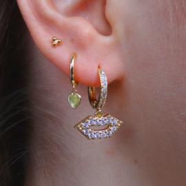 Zirconia Lips Gold Earring