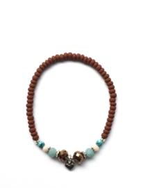 Handmade bracelet - copper brown, white, turquoise