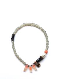 Handmade bracelet - light grey, orange, pearl