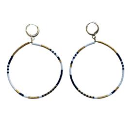 Earrings Miyuki Black White Gold