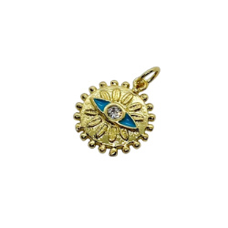 Textured Turquoise Eye Gold Pendant