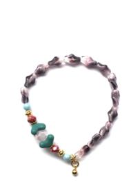 Handmade bracelet - pink purple, petrol, red