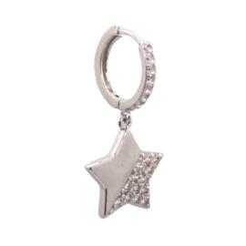 Zirconia Star Silver Earring