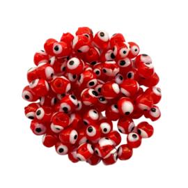 Evil Eye glassbeads - red
