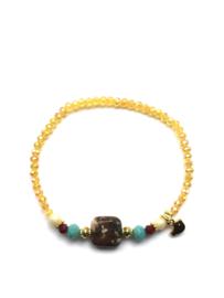 Handmade bracelet - ocher yellow, brown, turquoise