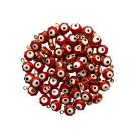 Flower Evil Eye Charm Red