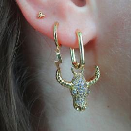 Zirconia Bull Gold Earring