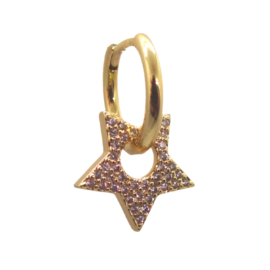 Zirconia Hollow Star Gold Earring